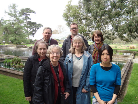 Colour photograph showing the members of the project team members in a group whilst attending a project meeting at the Royal Botanic Gardens, Kew (copyright University of Glasgow)