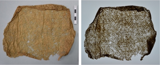 Colour photograph showing a decorative beater mark on an extremely fine, lace-like Hawaiian kalukalu cloth from The Hunterian collection (GLAHM E.380/2). In a second photo, the beater mark can be clearly seen under transmitted light. (copyright University of Glasgow)
