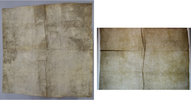 A pair of colour photographs, showing how transmitted light helps to distinguish between localised soiling and fold lines, here on plain white cloth (copyright University of Glasgow)