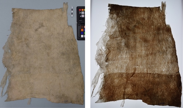 Colour photograph of a sample of Fijian masi (GLAHM E.605). A second photo of the sample under transmitted light shows where there is more than one layer of barkcloth. (copyright University of Glasgow)