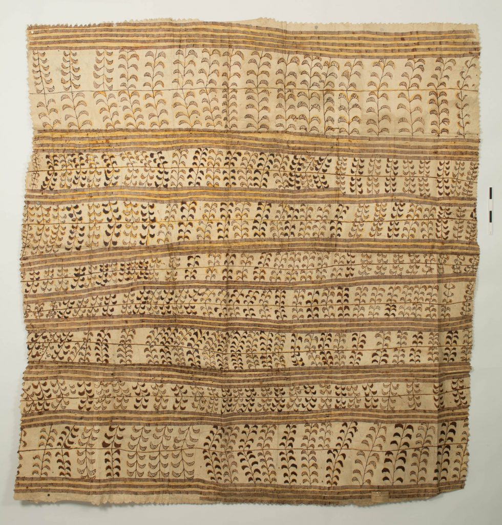 """Kew EBC 42863. Colour photo of a hand-painted Samoan siapo mamanu, constructed from two layers of paper mulberry bast pasted together. This siapo was collected by Captain Sir James Everard Home of HMS North Star and donated to Kew in 1847 as one of """"various specimens of Tapa cloth."""" (Copyright Economic Botany Collection, Royal Botanic Gardens, Kew)"""