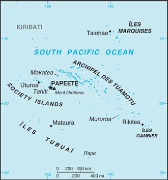 Outline map of French Polynesia showing Society Islands, Austral Islands and Marquesas Islands (credit: The World Factbook 2020. Washington, DC: Central Intelligence Agency, 2020)