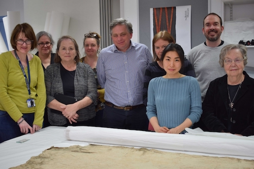 Colour photograph showing members of the project's research team and advisory committee, meeting in 2017: (left to right) Dr Margaret Smith, University of Glasgow; Sherry Doyal; Michele Austin Dennehy; Monique Pullan, British Museum; Prof. Mark Nesbitt, Royal Botanic Gardens, Kew; Julia Gresson, Horniman Museum; Misa Tamura, University of Glasgow; Jeremy Uden, Pitt Rivers Museum; and Dr Adrienne Kaeppler, National Museum of Natural History, Washington DC. (copyright University of Glasgow)