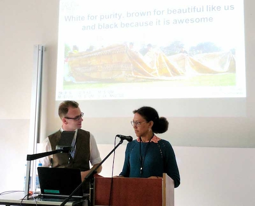 Colour photograph of Dr Andy Mills, Historical Research Associate for the project Situating Pacific Barkcloth in Time and Place, with Dr Fanny Wonu Veys of the Museum Volkenkunde, the Dutch National Museum of Ethnology, in Leiden. Dr Mills and Dr Veys convened a panel on Pacific barkcloth at the European Society for Oceanists conference in 2017 (copyright Mark Nesbitt)