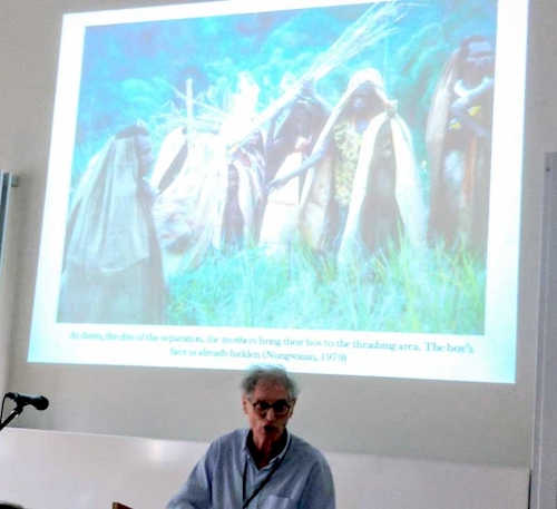 Colour photograph of Pierre Lemonnier giving his presentation which focused on the significance of Ficus prolixa barkcloth cloaks in coming-of-age ceremonies among the Anga of southwestern Morobe Province at the European Society for Oceanists conference in 2017 (copyright Mark Nesbitt)