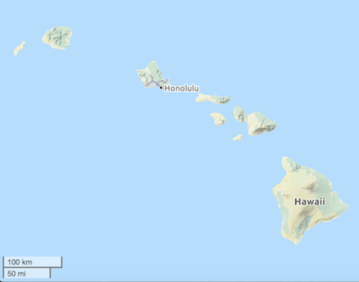 Outline map of Hawai'i (copyright OpenStreetMap contributors; licensed under CC-BY SA 2.0; map tile edited to add scale overlay)
