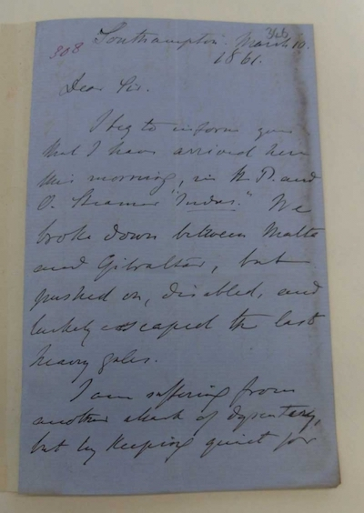 Colour photograph of letter from Berthold Carl Seemann to William Jackson Hooker detailing the challenges of voyages to and from the Pacific. The letter mentions that he is 'suffering from another attack of dysentery'. (courtesy of the Trustees of the Royal Botanic Gardens, Kew)