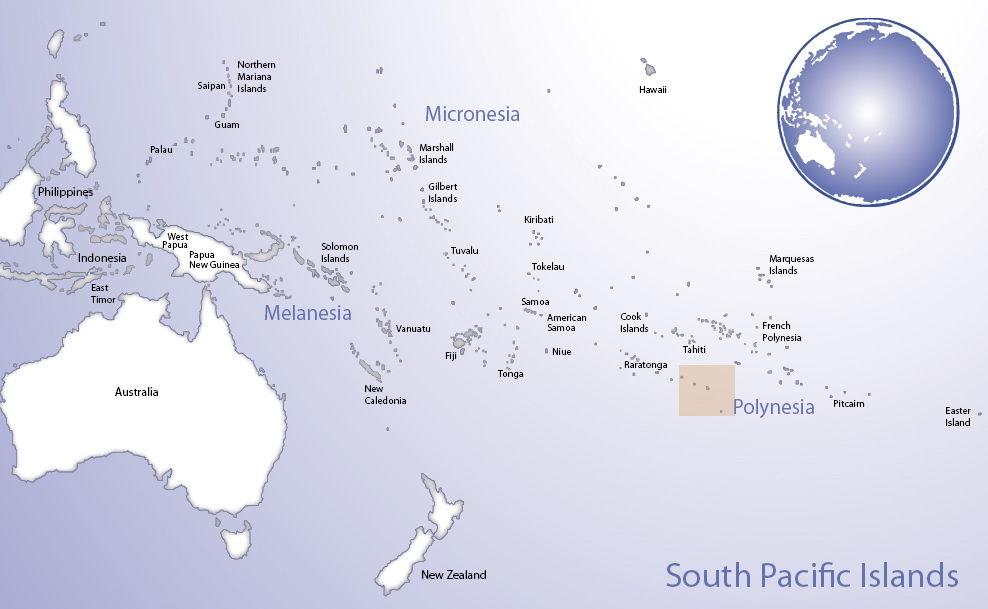 Map of Oceania highlighting the location of Austral Islands (© Pacific Peoples' Partnership; edited to add location overlay)