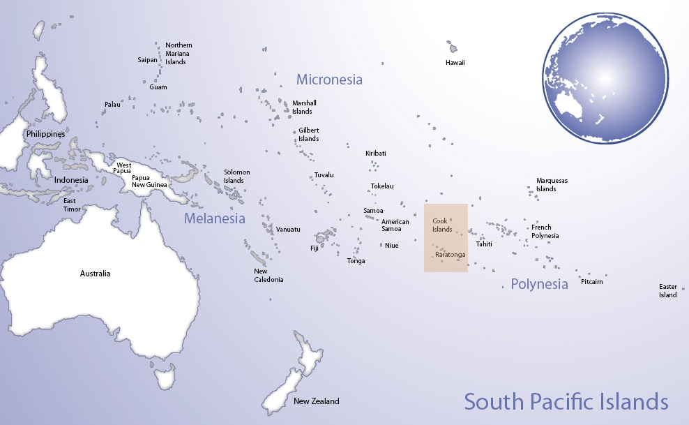 Map of Oceania highlighting the location of Cook Islands (© Pacific Peoples' Partnership; edited to add location overlay)