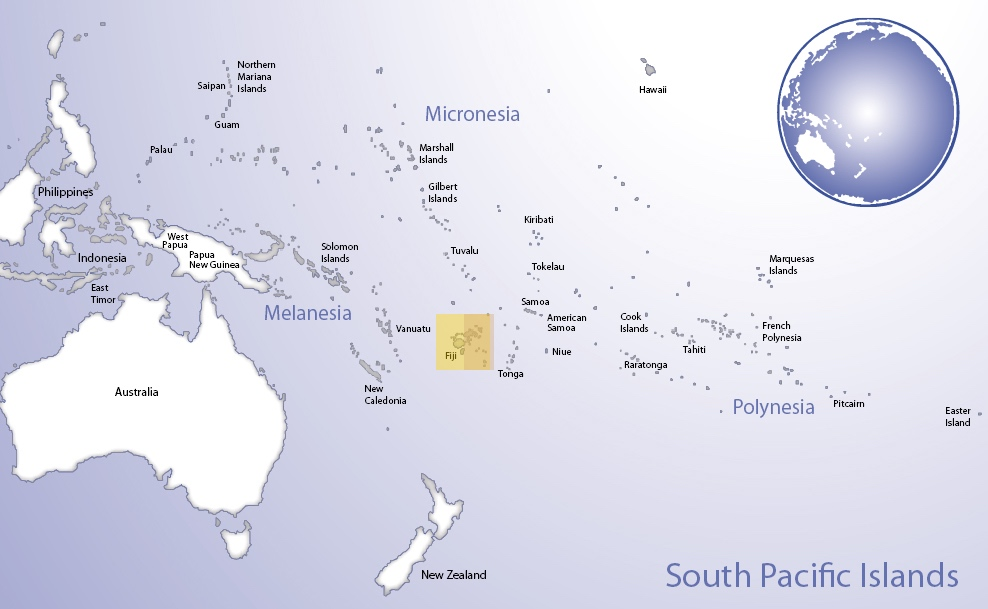 Map of Oceania highlighting the location of Fiji (© Pacific Peoples' Partnership; edited to add location overlay)