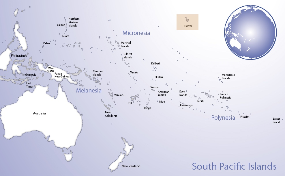 Map of Oceania highlighting the location of Hawai'i (© Pacific Peoples' Partnership; edited to add location overlay)