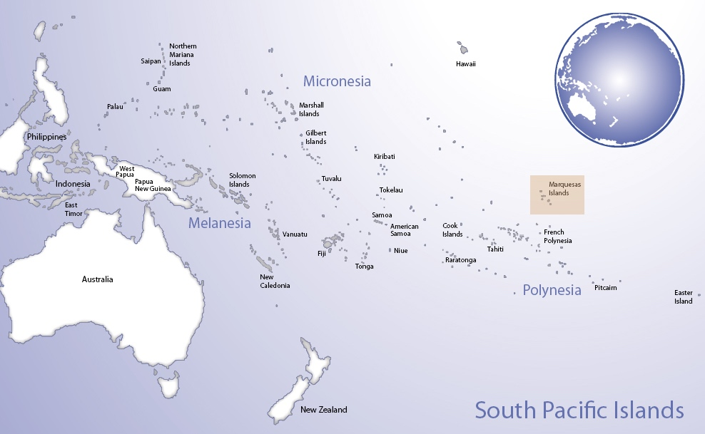 Map of Oceania highlighting the location of Marquesas Islands (© Pacific Peoples' Partnership; edited to add location overlay)