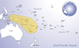 Map of Oceania highlighting the region of Melanesia (© Pacific Peoples' Partnership; edited to add region overlay)