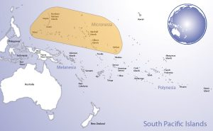 Map of Oceania highlighting the region of Micronesia (© Pacific Peoples' Partnership; edited to add region overlay)