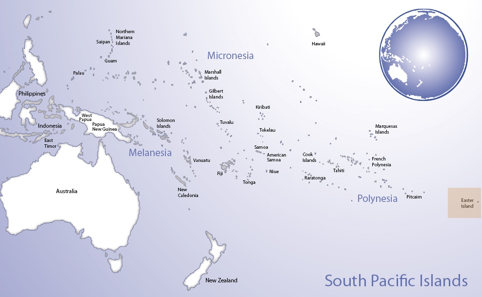 Map of Oceania highlighting the location of Rapa Nui (© Pacific Peoples' Partnership; edited to add location overlay)