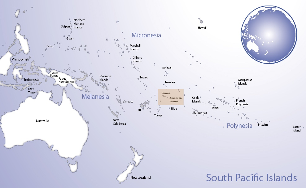 Map of Oceania highlighting the location of Samoa and American Samoa (© Pacific Peoples' Partnership; edited to add location overlay)