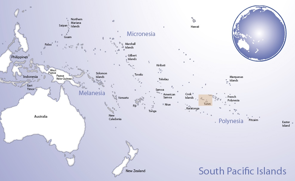 Map of Oceania highlighting the location of Society Islands (© Pacific Peoples' Partnership; edited to add location overlay)