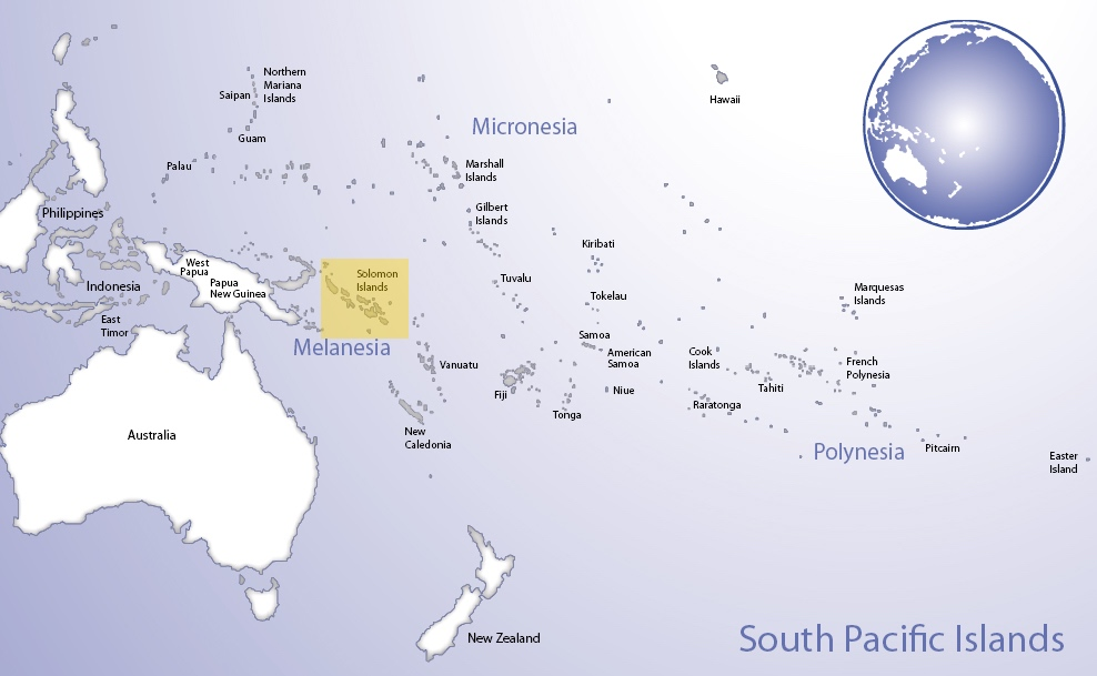 Map of Oceania highlighting the location of Solomon Islands (© Pacific Peoples' Partnership; edited to add location overlay)
