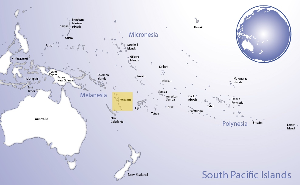 Map of Oceania highlighting the location of Vanuatu (© Pacific Peoples' Partnership; edited to add location overlay)
