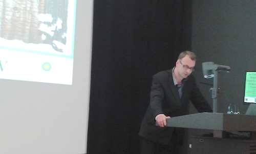 Colour photograph showing Dr Andy Mills, the project's Historical Research Associate, speaking at the Museum Ethnographers Group 2017 conference. The conference was hosted by the Centre for Textile Conservation and Technical Art History and The Hunterian. (copyright University of Glasgow)