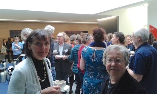 Colour photograph showing a large group of delegates at the Museum Ethnographers Group conference in 2017 meeting up with colleagues over coffee (copyright University of Glasgow)
