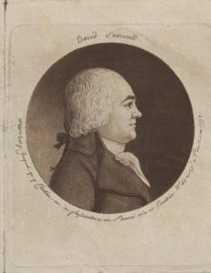 Engraved portrait of David Samwell, by Gilles Louis Chrétien (1754-1811) engraver, by Jouquet, artist, drawing, 1798 (courtesy of The National Library of Wales; licensed under Public Domain Mark 1.0)