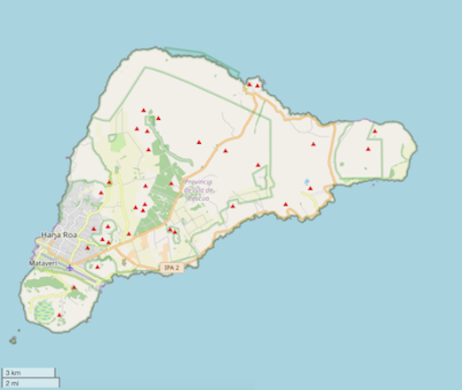Outline map of Rapa Nui (copyright OpenStreetMap contributors; licensed under CC-BY SA 2.0; map tile edited to add scale overlay)