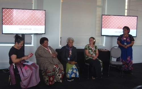 Colour photograph of a group of barkcloth makers of Fijian heritage who shared their experiences of working with tapa in the Fiji panel at the Tapa Symposium in Auckland in 2017 (copyright University of Glasgow)